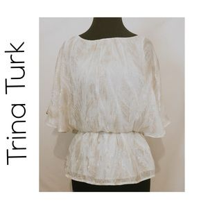 Trina Turk white and gold flowy blouse, size S